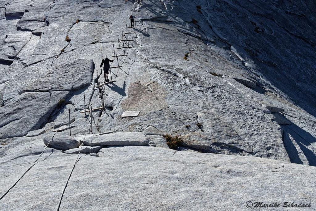 Die Drahtseile zur Besteigung des Gipfels des Half Dome