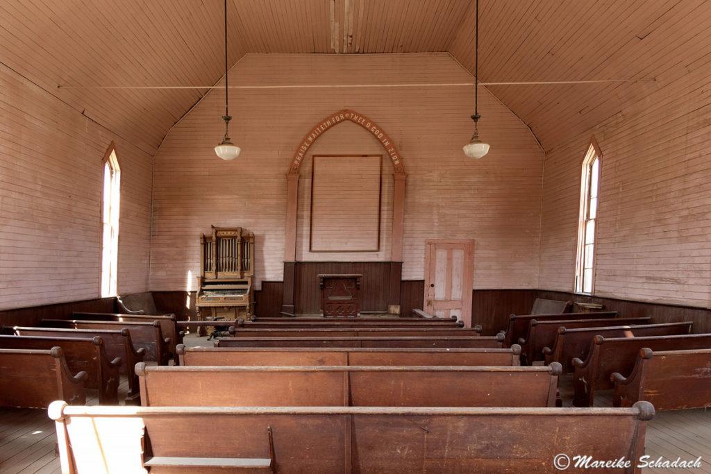 In der alten Methodisten-Kirche von Bodie