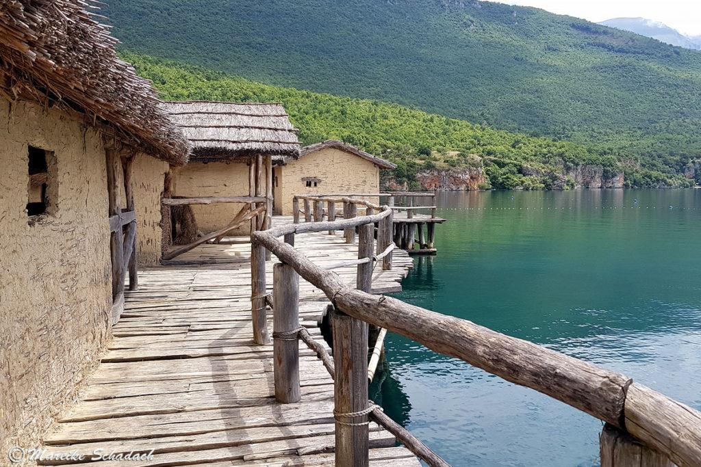 Prähistorische Pfahlbausiedlung Ohridsee in Mazedonien