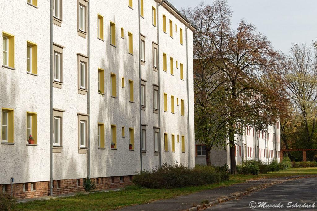 Wohnblocks des Wohnkomplex I als Teil der sozialistischen Planstadt Eisenhüttenstadt