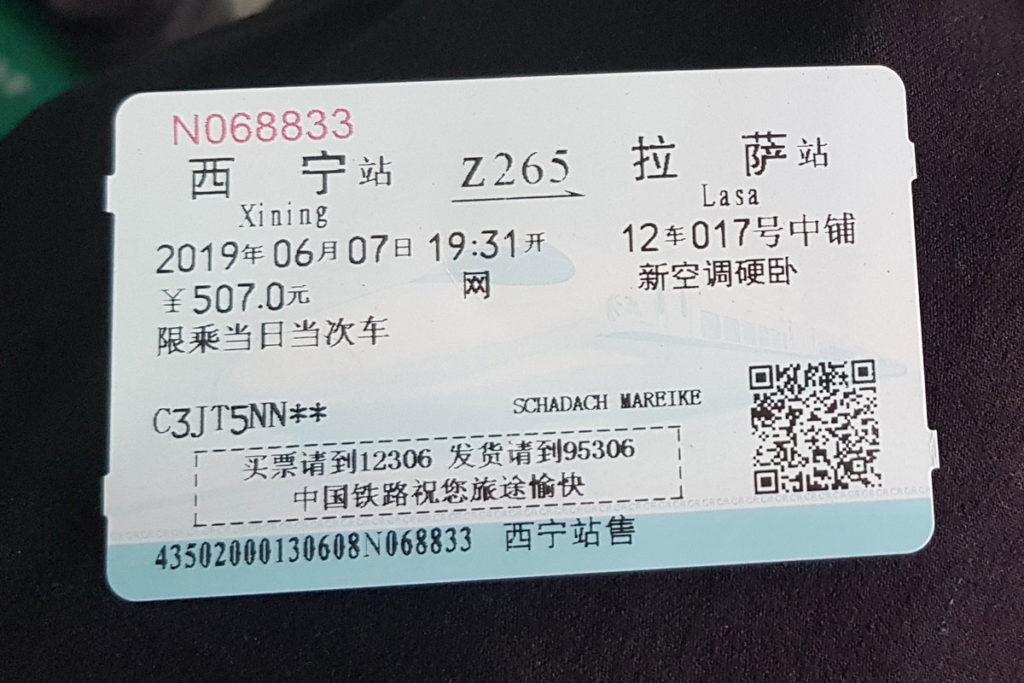 Ticket für die Lhasabahn