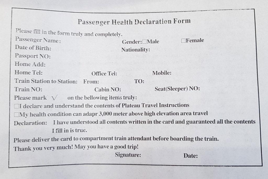 Passenger Health Declaration Lhasabahn, Lhasabahn Tipps