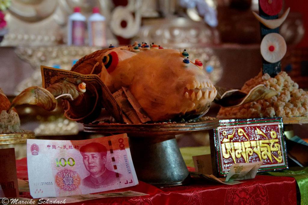 Opfergaben im Rongbuk Kloster Tibet