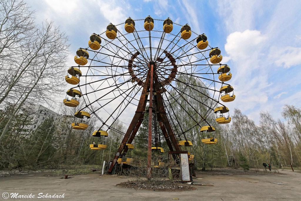 Wahrzeichen von Prypjat - das Riesenrad ist eines der beliebtesten Motive zum Fotografieren in Tschernobyl