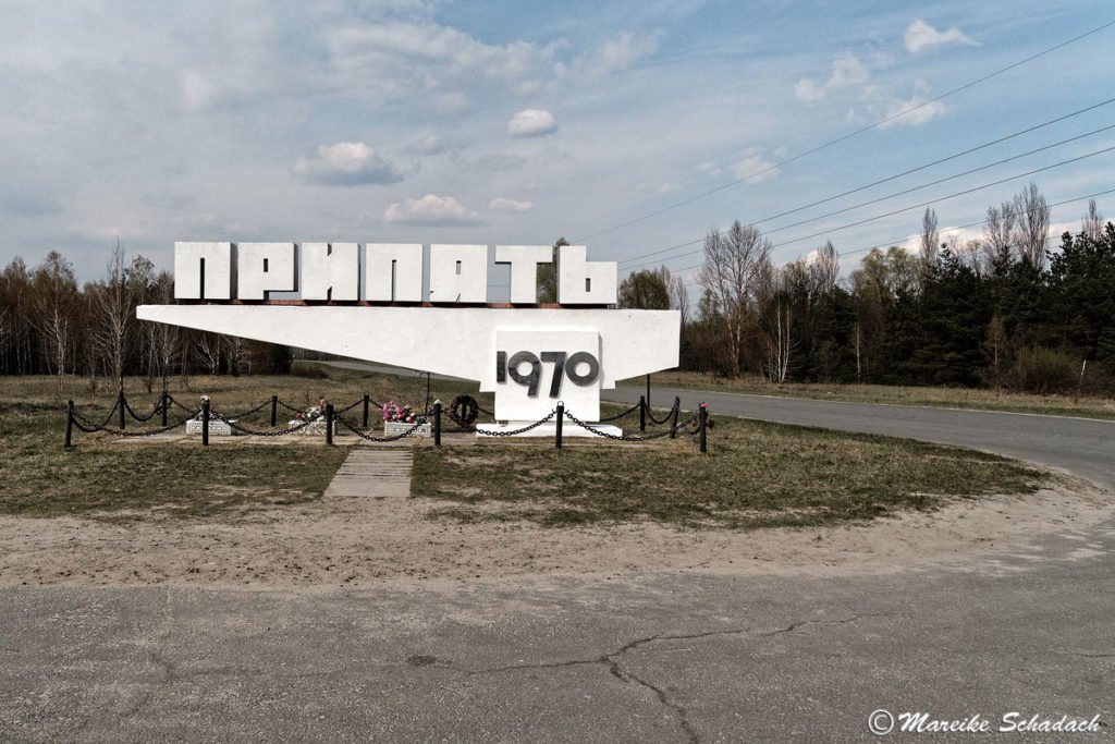 Ortseingang Prypjat - Fotografieren in Tscherbobyl