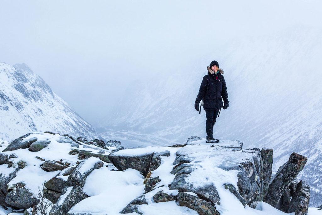 Gipfel des Tjeldbergtinden, Lofoten