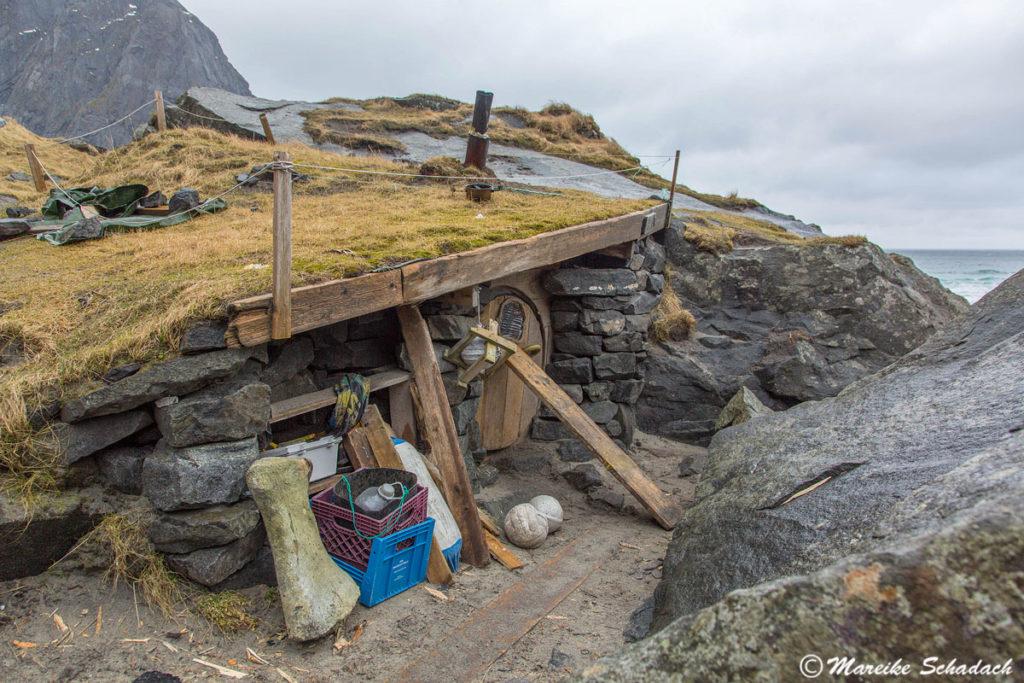 Surfer-Hütte bei Kvalvika, Moskenesøya Lofoten