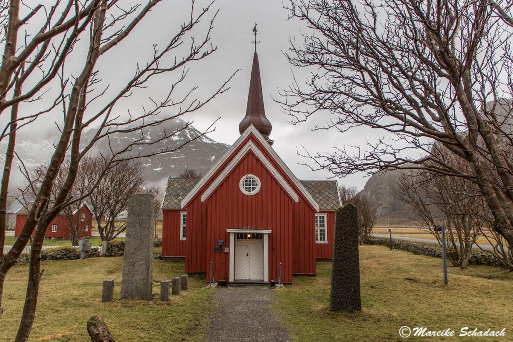 Kirche von Flagstad, Lofoten in Norwegen