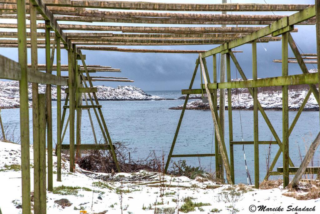 Fischgestell bei Henningsvær, Lofoten in Norwegen