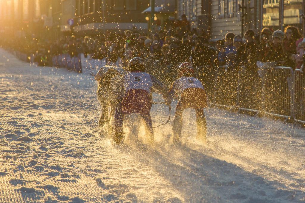 Jockeys beim Rentierwettrennen, Tromsø im Winter.