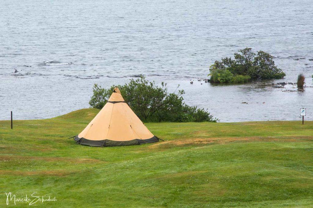 Zelt am Campingplatz Mývatn