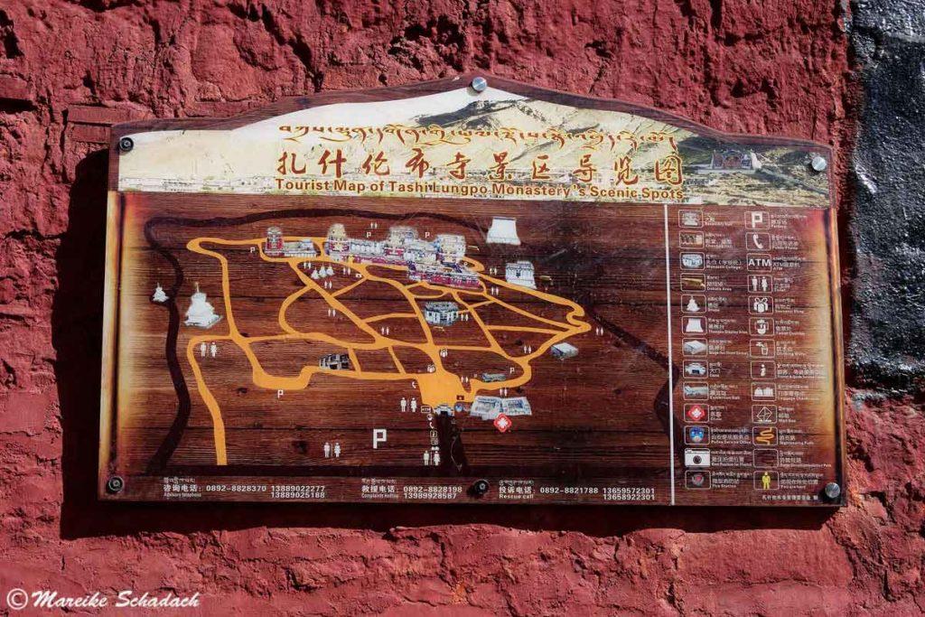 Übersichtsplan vom Kloster Tashilunpo