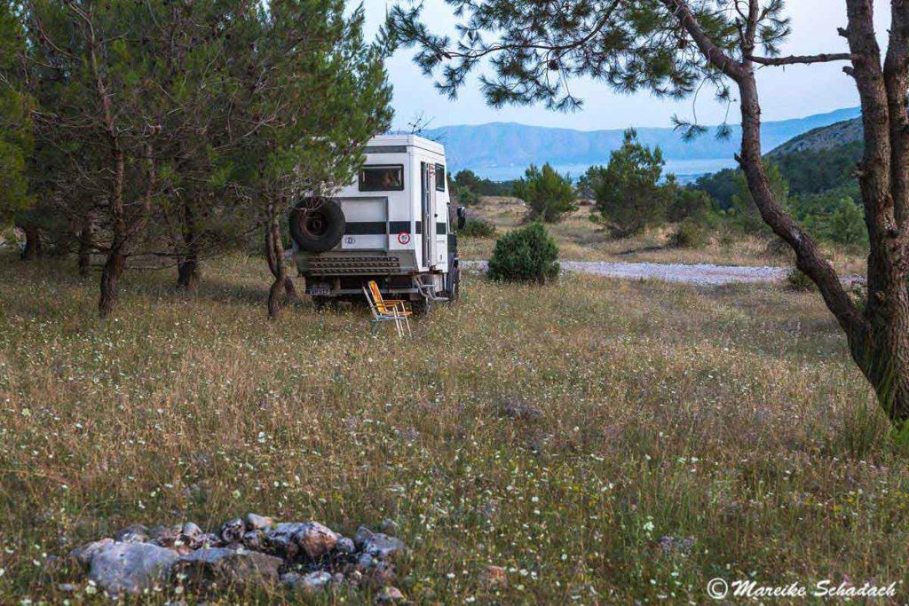 Mit dem Allrad Camper nach Theth - Unser erster Stellplatz für die Nacht in Albanien