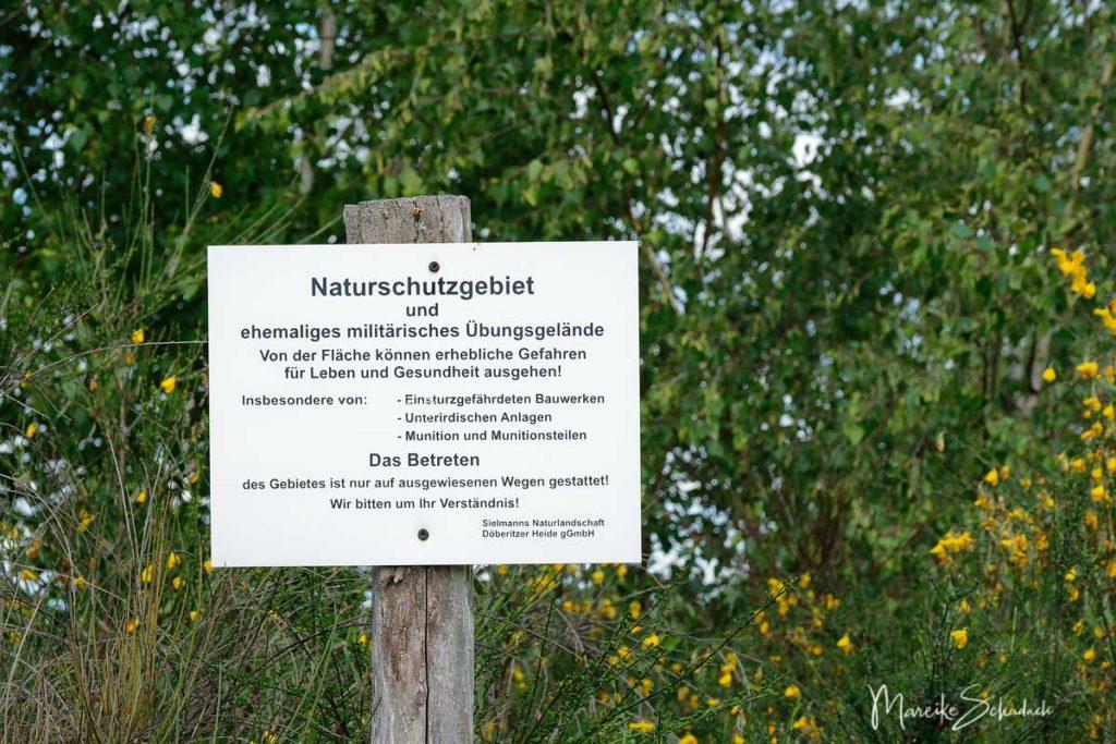 Ausflug Döberitzer Heide - Warnschild auf dem ehemaligen Truppenübungsplatz