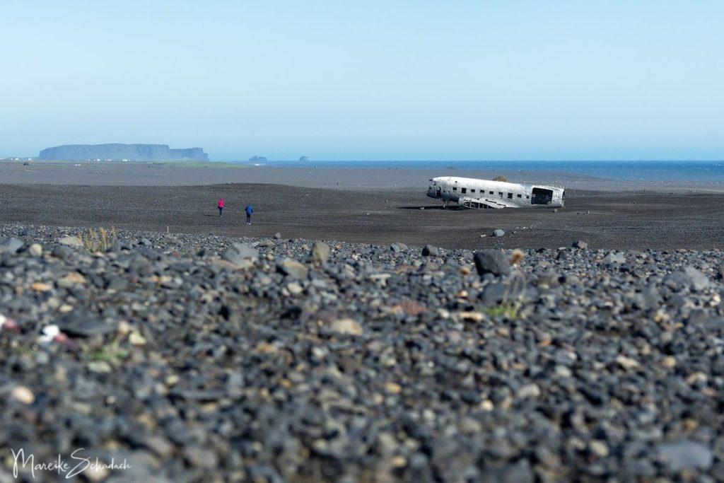 Panoramabild Flugzeugwrack am Strand von Sólheimasandur