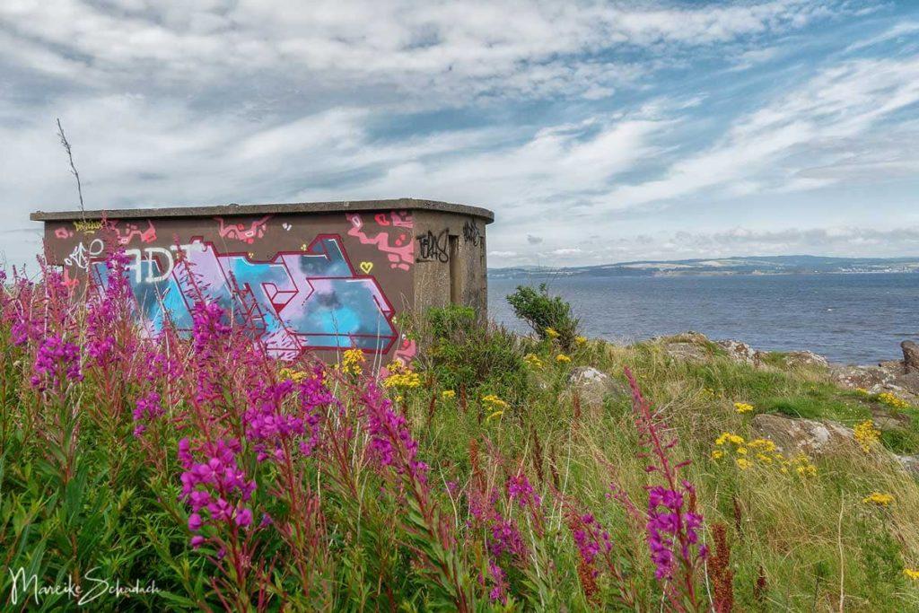 Bunker bei der Geisterinsel Cramond bei Edinburgh