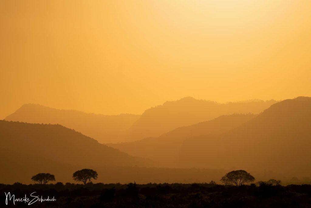 Sonnenuntergang im Tsavo East Nationalpark