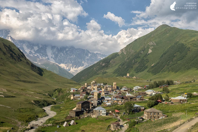 Panorama view of Ushguli in Svaneti, Georgia